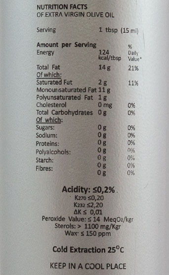 extra virgin olive oil pdo nutrition table